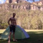 Craig and Tent at Newnes Campground