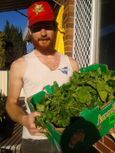 Farmer Craig with the harvest of mustard greens