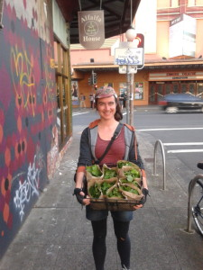 Farmer Jen at Alfalfa House with the packaged mustard greens