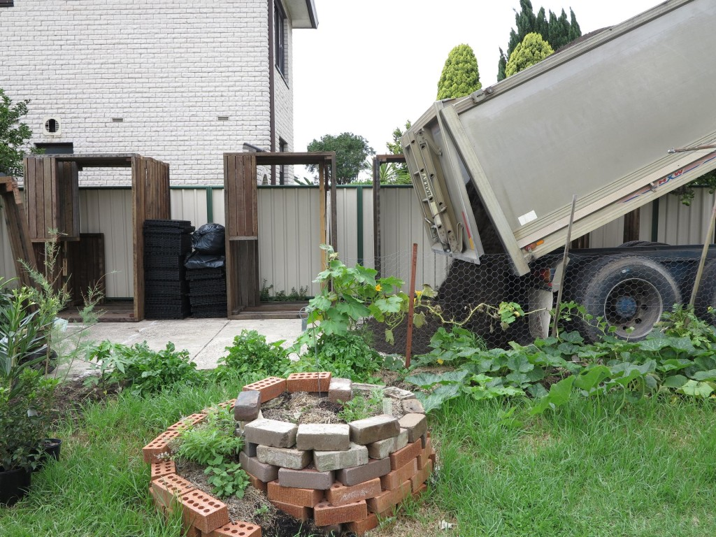 13 cubic metres of soil dumped on driveway
